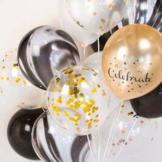 Goud en zwart marmeren Confetti ballon boeket bruiloft