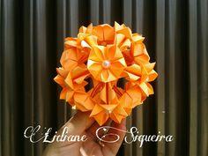 Kusudama Ixora, design and fold by me  #lidianeorigami #modularorigami #kusudama #origami