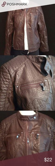 Steve Madden brown moto jacket Fun Steve Madden faux leather with snakeskin pattern moto jacket. Lined on the inside, size large wonderful condition. Steve Madden Jackets & Coats