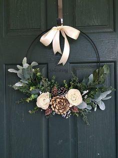 Christmas wreath wreath for christmas christmas decor hoop wreath modern wreath door wreath front door wreath natural wreath Noel Christmas, Christmas 2019, White Christmas, Christmas Crafts, Christmas Door Wreaths, Winter Wreaths, Front Door Wreaths, Christmas Lights, Christmas Movies