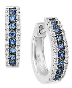 14k White Gold Sapphire (1/4 ct. t.w.) and Diamond (1/8 ct. t.w.) Hoop Earrings