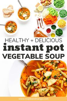 Looking for a delicious and healthy Instant Pot recipe? Then this Instant Pot Vegetable Soup recipe is for you! Loaded with a variety of fresh and frozen vegetables, baby potatoes, fresh dill and more! It's flavorful, comforting, packed full of veggies and so easy to make! Just let your pressure cooker (Instant Pot) work its magic. Stovetop instructions are also included. Grab a spoon and enjoy a bowl (or two) of this light and healthy comfort food! | www.mapleandmango.com Homemade Vegetable Soups, Vegetable Soup Healthy, Vegetable Soup Recipes, Healthy Soup, Frozen Vegetables, Veggies, Instant Pot, Pots, Healthy Chili