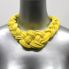 Collar Necklace Jewelry Braided Choker Boho Chic Tribal Necklaces Fabric SUMMER SALE  Neckpiece Yellow African Braid Knotted Jewellery. $35.00, via Etsy.