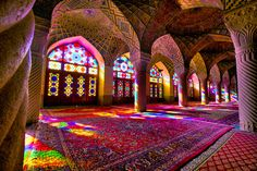 Nasir-al-Molk mosque Iran - Architecture and Urban Living - Modern and Historical Buildings - City Planning - Travel Photography Destinations - Amazing Beautiful Places Shiraz Iran, Beautiful Mosques, Beautiful Places, Pink Mosque, Number 19, Color Tile, Place Of Worship, Heritage Site, Facade