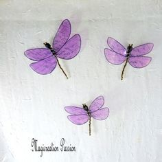 magnets libellules transparentes violettes + 3 aimants Magnet, Transparent, Lotus Flower, Decoration, Tattoos, Dimensions, Flowers, Boutique, Magnets