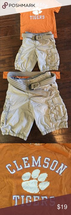 Boys Clemson Outfit M 8/10 Great Gameday Outfit.  Boys Clemson Medium Tee with Levi's Cargos in 10 and Abercrombie 8 belt Levi's Matching Sets