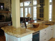 Not crazy about cabinet/granite combo - too white, hardware too small Decor, Countertops, Kitchen Counter, Granite, Slab, Kitchen Remodel, New Kitchen, Kitchen Dining, Kitchen Design