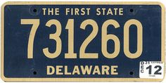 The official Delaware state license plate. Delaware is known by this nickname due to the fact that on December it became the first of the 13 original states to ratify the U. Vehicle Registration Plate, Registration Plates, Car License Plates, Licence Plates, U.s. States, United States, Auto Body Repair Shops, Delaware State, Family Chiropractic
