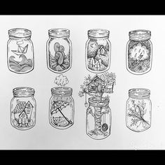 Michelle Marie sur Instagram : Mason jar collections #masonjars#illustration #art #apprentice #ink #markers #tattoo #linework #blackwork #blacktattoo…