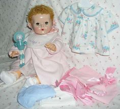 "20"" Effanbee STRAWBERRY Blonde Caracul Dy-Dee Louise Baby MOLD 2 -- w/ Layette"