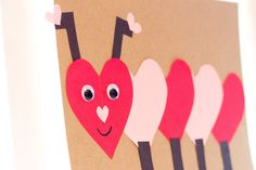 Valentine's Day caterpillar craft idea for pre-K & kindergarten