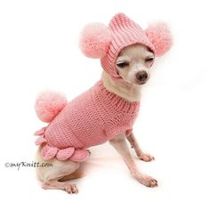 Pink Dog Clothes, Cute Bunny Pet Costume With Pom Pom Dog Hat, Crochet Dog Sweater, Chihuahua Clothes, Dachsund Myknitt Cute Dog Clothes Pink Bunny Pom Pom Hat by Myknitt Crochet Dog Clothes, Cute Dog Clothes, Crochet Dog Sweater, Hat Crochet, Pom Dog, Chihuahua Clothes, Designer Dog Clothes, Golden Retriever, Pet Costumes