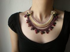 Phlox Subulata   Beaded Crochet Necklace  by irregularexpressions, $148.00