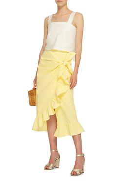 Vivetta  Camoscio Ruffled Seersucker Midi Skirt