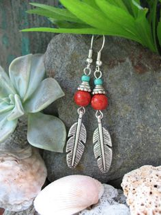 Silver Feather Earrings by SweetMagnoliasShop on Etsy, $14.99