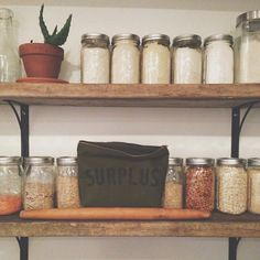 wood shelving for pantry | our remodeled kitchen — reclaimed wood shelves for the open pantry ...