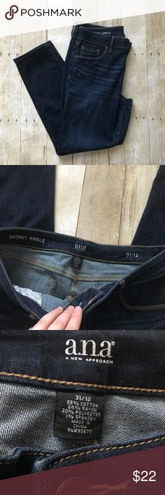 """a.n.a. Dark wash skinny ankle jeans Only worn once. Good condition. Skinny ankle cut. Size 12. Inseam measures 27.5"""". Dark wash. Zipper and button closure. ❌ No trades or off Poshmark transactions.   👌🏻Quick shipping.   💁🏻Offers welcome through """"Make an Offer"""" feature.   👗👠 Bundle discount.   ❔ Feel free to ask any questions. a.n.a Jeans Ankle & Cropped"""