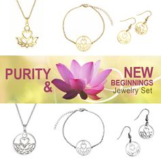 Complete Purity & New Beginnings Set (Gold + Silver) Chain Earrings, Stainless Steel Chain, Jewelry Sets, Delicate, Pendant Necklace, Silver, Gold, Money, Drop Necklace