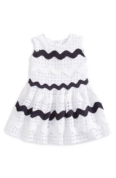 Halabaloo Stripe Eyelet Dress (Baby Girls) available at #Nordstrom