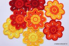 CROCHET Coasters PATTERN Flower Coasters Crochet by LyubavaCrochet