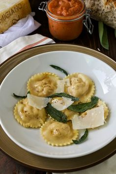 Pumpkin ricotta ravioli with sage butter.