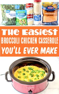 Crockpot Chicken Recipes - Easy Broccoli Cheese Rice Casserole Recipe! This quick prep slow cooker dinner is so simple to make, and always a family-favorite! Plus... it's the tastiest way to sneak more broccoli into your day! Go grab the recipe and give it a try this week! Easy Goulash Recipes, Easy Casserole Recipes, Delicious Crockpot Recipes, Healthy Recipes, Crockpot Chicken Dinners, Crockpot Chicken Broccoli Rice, Crockpot Dishes, Easy Chicken Recipes, Cooking Recipes