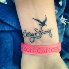Stay strong tattoo with bird