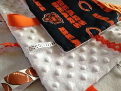 Chicago Bears Baby Tag Blanket by BoxOfScraps on Etsy, $20.00