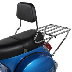 This Prima Barbecue rack has an adjustable backrest and an ample platform for tying down all sorts of gear. Vespa P200e, Vespa Scooters, Scooter Garage, Scooter Parts, Honda Cub, Yamaha, Outdoor Chairs, Volkswagen, Bbq