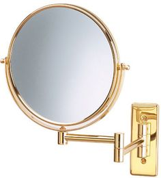 5 times magnification Brass/Gold wall mount magnifying mirror.