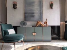 Glam Living Room | Marble wall | Velvet Teal Gold Chair | Grey Abstract Painting | Copper Mint Credenza