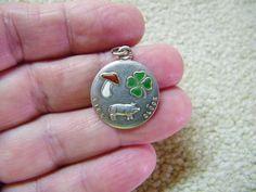 Antique German Silver Enamel Lucky Pig with Clover & Mushroom Charm #LuckyCharm