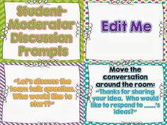 Student Led Discussion Prompts - FREEBIE!