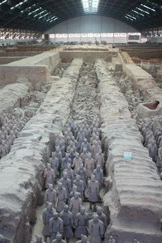 There are over 8000 lifesized individual warriors in the army or terracotta army discovered in Xi'an China. Read the article to see other interesting things in the town, plus several more photos of the warriors.
