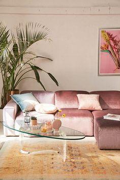 Modular Velvet Sofa Urban Outfitters Home Collection Boho Living Room, Living Room Decor, Bedroom Decor, Bohemian Living, Pink Living Room Furniture, Pastel Living Room, Living Area, Living Rooms, Pink Sofa