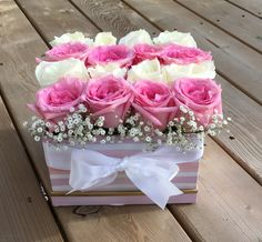 Fresh pink and white boxed roses, handcrafted with love. - Fresh pink and white boxed roses, handcrafted with love. – Fresh pink and white boxed roses, handcrafted with love. Flower Box Gift, Flower Boxes, Beautiful Flower Arrangements, Floral Arrangements, Amazing Flowers, Pretty Flowers, Bouquet Box, Box Roses, Pink Roses