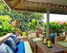 Ordinaire Baroque Wicker Furniture Method Los Angeles Tropical Porch Image Ideas With  Bright Color Colorful Patio Covered Deck Green Candles Guitar Modern  Pillows ...