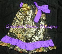 Mossy Oak double ruffle  purple baby girl 0 3 by GranniDaniDesigns, $26.00