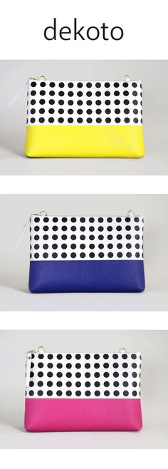 """Polka Dot Clutch Purse - Carry it as a clutch, or attach an optional chain. With its 2.75"""" depth, you can carry all of your essentials.  It instantly bejewels any simple ensemble you already own !  https://www.etsy.com/listing/467852516/clutch-bag-handbag-yellow-black-polka?ref=shop_home_active_22"""