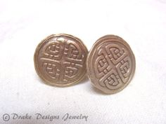 8th anniversary--Celtic Knot Cufflinks Solid Bronze gift for him