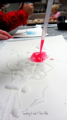Teaching 2 and 3 Year Olds: Salt Painting 3 easy steps: squeeze glue, sprinkle salt, drop watercolors and watch them mix/interact