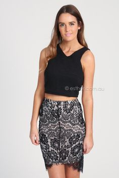 camille lace skirt - black