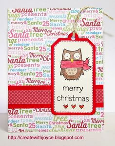 07 15 14; A Tag on a Christmas Card; Lawn Fawn Tag You're It die; Lawn Fawn Winter Owl stamp set; Lawn Fawn Trim the Tree stamp set