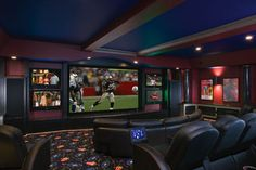If you have always dreamed of a customized, ultra high-tech, inviting and luxurious home theater, here is a treat for your eyes. There is a fine line between home theater and design marvel. We have seen some truly incredible home theater setups in. Home Theater Setup, Home Theater Rooms, Home Theater Design, Movie Theater, Theater Plan, Home Theaters, Installation Home Cinema, Home Movies, First Home