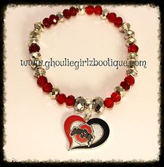 """Ohio State University Licensed Charm Bracelet Licensed Ohio State University logo charm suspended from a silver tone metal bail on a 6mm & 8mm faceted rondelle bead bracelet with silver tone metal spacer beads. Fits up to an 8"""" wrist. $12"""