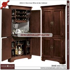 695111 Howard Miller Wine Bar corner Cabinet in Cherry Finish Norcross. This Hide-A-Bar cabinet has Americana Cherry finish on select hardwoods and veneers with light distressing. This handsome corner, wine and bar cabinet features four raised panel doors with antique brass finished hardware. The upper area includes a glass mirrored back and wine bottle storage for up to 15 bottles.A 3X power strip outlet