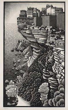 Bonifacio, Corsica, October 1928 M.C. Escher Dutch, 1898 - 1972 woodcut on laid japan paper 82.6 x 49.9 cm; image: 71.1 x 41.4 cm Gift of George Escher, Mahone Bay, Nova Scotia, 1985 National Gallery of Canada (no. 29452)
