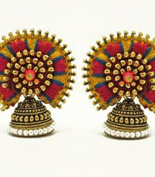 Buy Designer Jodha earring - fun yellow jhumka online