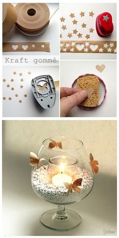 """DIY Kraft Packing Tape Butterfly and Star Candle Holder Tutorial from Le Blog de Gedane.You can buy Kraft Self Adhesive Tape or """"Gummed Tape"""" at any office supply store or online."""