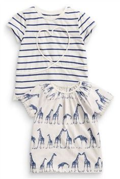 Buy Two Pack Navy And White Stripe Heart And Giraffe T-Shirts from the Next UK online shop Next Clothing Kids, Latest Fashion For Women, Kids Fashion, Summer Girls, Spring Summer, Girls Wear, Navy And White, What To Wear, Kids Outfits